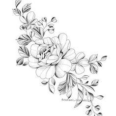Floral Tattoo Design, Flower Tattoo Designs, Flower Tattoos, Flower Line Drawings, Shoulder Tattoos For Women, Peonies Tattoo, Floral Drawing, Feminine Tattoos, Pretty Tattoos
