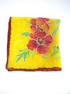 Silk Pocket Square Hand Painted in Olive Green and Orchid Purple