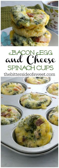 Bacon Egg and Cheese Spinach Cups | The Bitter Side of Sweet #VoteWrightBacon #ad @Wright® Brand Bacon