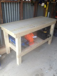 This is the workbench I made from a plan on the Ana White website.