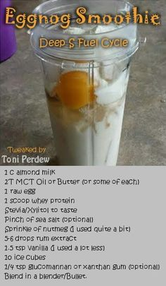 eggnog smoothie - deep s paleo for beginners trim healthy mamas Trim Healthy Recipes, Trim Healthy Mama Plan, Thm Recipes, Sausage Recipes, Raw Egg Smoothie, Smoothie Drinks, Smoothie Recipes, Smoothies, Low Carb Drinks