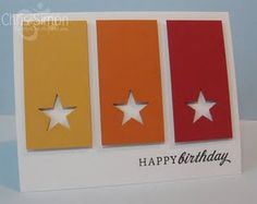 Colorful Om: CAS-ual Fridays Challenge - Color Block Super Cute from Chris Simon Handmade Birthday Cards, Happy Birthday Cards, Greeting Cards Handmade, Card Birthday, Diy Birthday, Paint Chip Cards, Star Cards, Card Tags, Door Tags