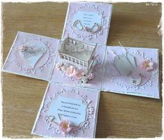 Liz's Creative Corner: Exploding box with cradle Tutorial Boy Cards, New Baby Cards, Box Cards Tutorial, Card Tutorials, Exploding Gift Box, Pop Up Box Cards, Shaped Cards, Fancy Fold Cards, Baby Shower Cards