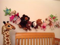 Stuffed animal holder Stuffed Animal Holder, Wooden Clothespins, Picture Hangers, Daughters Room, Room Stuff, Toy Boxes, Toys, Girls, Animals