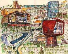 Ignacio Klindworth. #Boceto para serie Urbanizaciones.Técnica mixta sobre papel. 30x28cm. Madrid 2006. www.ignacioklindworth.es