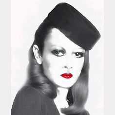 Biba Pillbox    This picture of Twiggy was originally a photograph showing Biba's new make-up range. It was a colour transparency that I used as a starter for the black & white portrait. The original colours were beautiful shades of purple and plum. Very Barbara Hulanicki (Biba)! Of the many Biba sessions that I 'shot', I always worked closely with Barbara and her late husband, the wonderful Fitz.