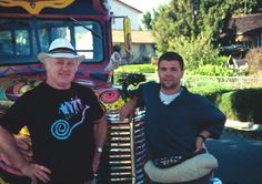 """Ken Kesey and former student Jeff Forester in front of the bus """"Further II."""" Ken Kesey bought another old school bus in the 1990s and, with other original Merry Pranksters, prepared the new incarnation of Further. Photo: Courtesy Of Jeff Forester"""