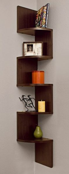 Danya B Tall Decorative 5 Tier Corner Wall Shelf Dark Wood Home Decor Wall Decor Shelves Decor, Furniture, Corner Wall Shelves, Shelves, Interior, Shelf Furniture, Home Decor, House Interior, Furniture Design