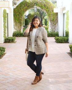 ShopStyle Look by CurvyGirlChic featuring Ruched Sleeve Plaid Blazer and Vince Camuto Plus Size Pleated Cap-Sleeve Blouse 20s Fashion, Curvy Fashion, Plus Size Fashion, Autumn Fashion, Fashion Looks, Fall Plaid, Plaid Blazer, Fall Wardrobe, What I Wore