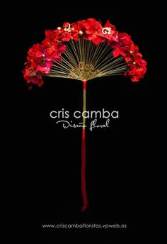 Gorgeous red floral bridal fan - cris camba pinned with Bazaart