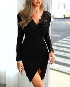 Sum All Chic, Shop Black Lace Irregular V-neck Long Sleeve Elegant Mini Dress online. Elegant Dresses For Women, Dress For Short Women, Beautiful Dresses, Short Dresses, Casual Dresses, Formal Dresses, Sexy Dresses, Midi Dresses, Lace Dresses