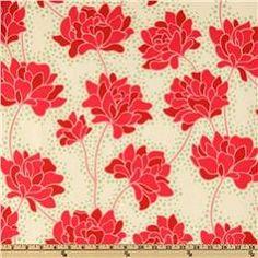 Pop Garden Peonies in Ivory - fabric