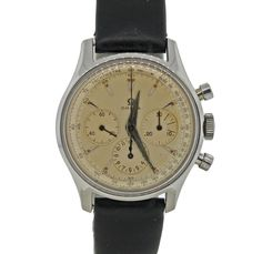 Vintage C1950 Omega Stainless Steel Hand Wind Chronograph 2451-7 35mm Working #Omega #LuxurySportStyles