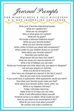 January 2019 Journal Prompts for MIndfulness and Self-Discovery. 31 day challenge with Journal Prompts. Daily Journal Prompts, Journal Challenge, Writing Challenge, How To Journal, 31 Day Challenge, Journal Entries, Bujo, Journal Questions, Therapy Journal