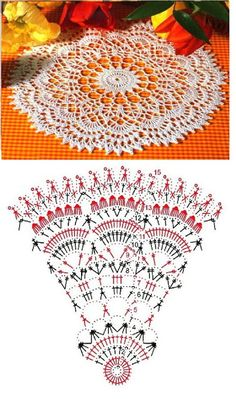 Ideas For Crochet Table Runner Chart Doily Patterns Crochet Doily Diagram, Crochet Mandala Pattern, Crochet Circles, Crochet Doily Patterns, Crochet Chart, Thread Crochet, Filet Crochet, Crochet Stitches, Crochet Table Runner
