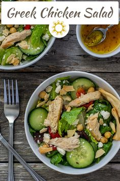 Make your own dressing to top a quick and easy Greek Chicken Salad. Rotisserie chicken makes it quick but still full of flavor. #salad #greek #chicken