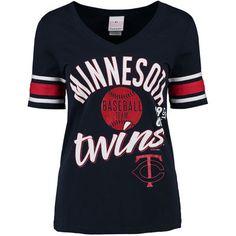Women's Minnesota Twins 5th & Ocean by New Era Navy Athletic Stripes Baby Jersey T-Shirt