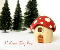 Fairy Mushroom House Red Spotted Roof - Hanging Ornament - Miniature Fairy Garden or Terraium Piece - Bolete Style on Etsy, $22.89 CAD