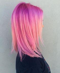 Hair, hair color pink и dyed hair. Medium Hair Styles, Long Hair Styles, Hair Color Pink, Hair Colors, Ombre Colour, Pink Purple Hair, Peach Hair, Lilac, Bright Hair