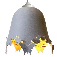 DELIGHT LACIE Wool Felt Butterfly  LAMPSHADE  cream grey door MIXKO