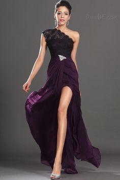 Fashionable One Shoulder Lace Beading Split Front Evening Dress 10834741 - Evening Dresses 2014 - Dresswe.Com