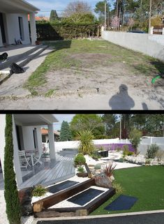 Les réalisations et exemples de préstations Front Garden Landscape, Landscape Design, Modern Landscaping, Backyard Landscaping, Apartment Decoration, Backyard Layout, Back Gardens, Interior Exterior, Garden Planning