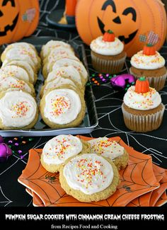Pumpkin Sugar Cookies! Big soft pumpkin sugar cookies frosted with a cream cheese cinnamon frosting with sprinkles. - Recipes, Food and Cooking
