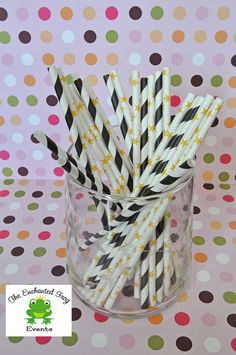 25 Black Stripe and Yellow Stars Mix Party by EnchantedFrogEvents, $4.00
