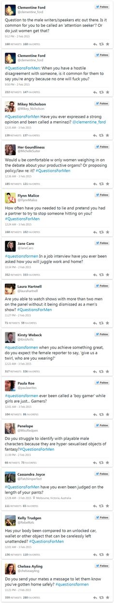 #QuestionsForMen - highlighting the everyday sexism women have to face and men generally don't even have to consider
