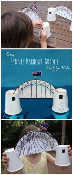 Harbour Bridge Craft Sydney Harbour Bridge craft for kids - made from items you probably already have at your Australia Day BBQ!Sydney Harbour Bridge craft for kids - made from items you probably already have at your Australia Day BBQ! Australia For Kids, Australia School, Australia Crafts, Australia Day Craft Preschool, Melbourne Australia, Australia Travel, School Projects, Projects For Kids, School Ideas
