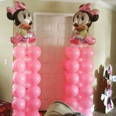 Minnie Mouse Balloon Columns Minnie Mouse Birthday Theme, Minnie Mouse Baby Shower, Minnie Mouse Party, 1st Birthday Girls, 1st Birthday Parties, Themed Parties, Princess Birthday, Birthday Ideas, Minnie Mouse Decorations