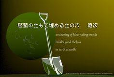 「啓蟄の土もて埋める土の穴」(透次)季語(啓蟄・春) awakening of hibernating insects     I make good the loss     in earth at earth (by Touji)
