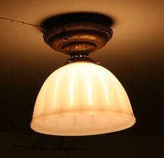 1910 milk glass ceiling light fixture