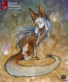 .Tea Fox Illustrations. | Three fursona-to-kitsune commissions. Completed...
