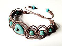 Beaded Hemp Bracelet- Featuring Turquoise Stones, Howlite, Adjustable Length, Simple Boho Jewelry