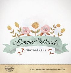 Logo Design Custom Premade Watercolor Flowers for Photography, Boutique, Small Business. $39.90, via Etsy.
