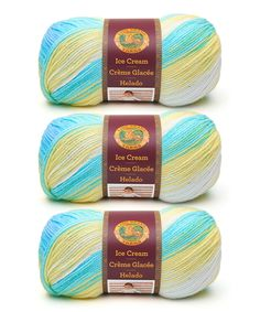 Lion Brand Lemon Swirl Ice Cream Yarn Skein - Set of Three Fair Isle Knitting, Lion Brand, Yarn Colors, Knit Crochet, Weaving, Lemon, Color Combos, Crafts, Sample Resume