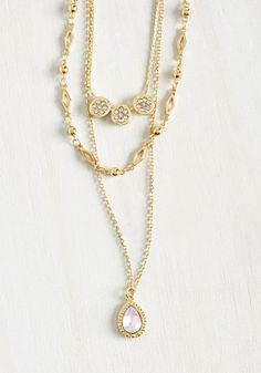 Charm Me Up! Necklace - Gold, Solid, Rhinestones, Party