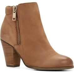Boots ($48) ❤ liked on Polyvore featuring shoes, boots, ankle booties, heels, ankle boots, camel, heeled ankle boots, block heel bootie, heeled booties and high heel boots