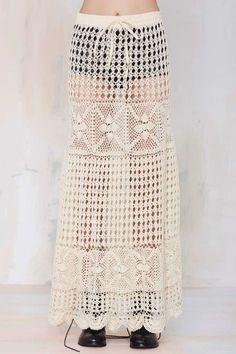 Vintage Deva Crochet Knit Skirt - Bottoms | Festival Shop