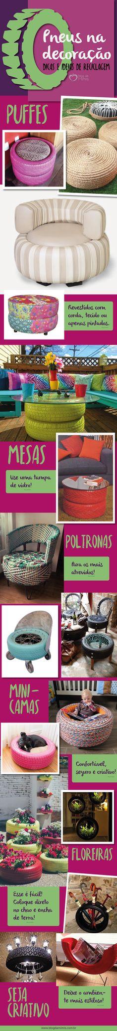 Pneus na decoração: dicas e ideias de reciclagem - Blog da Mimis #blogdamimis #pneus #reciclagem #decor #diy