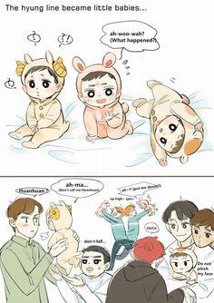 Is that Baeky spinning poor Suho around? Exo Kokobop, Kpop Exo, Exo Cartoon, 5 Years With Exo, Anime Bebe, Exo Fan Art, Xiuchen, Exo Memes, Kawaii