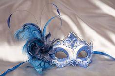 Venetian Masks On a Stick | Masquerade Masks on Stick - Feather Masks for Glasses - Daniela Silver