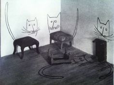 Saul Steinberg. Stool Cats from The best of flair.