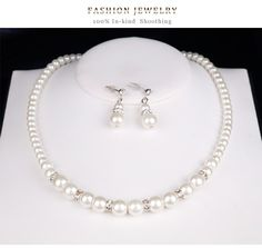 Simple alloy plating Necklace set (CA244-A)NHDR1460 Necklace Set, Pearl Necklace, Plating, Sparkle, Pearls, Simple, Jewelry, String Of Pearls, Jewlery