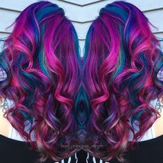 Beautiful fuchsia pink and blue mermaid hair by Stephanie Lawrence hotonbeauty.com