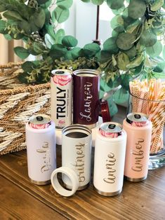 No matter your vacation spot, you'll love these personalized vacation cups! Make sure to pack our new personalized skinny can coolers - they're perfect spring break tumblers and vacation tumblers! Our personalized slim can holders make perfect spring break party cups, beach vacation cups and girls trip cups! They're also perfect large family trip cups. We have more personalized vacation gift ideas on our site! #girlstrip #vacationcups #beachtumblers #skinnycancoolers #beachtrip