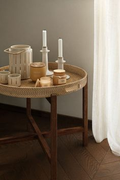 Round tray table - Light beige/Light brown - Home All | H&M GB Rustic Ceramics, H & M Home, Brown Art, Round Tray, Glass Holders, Decoration Table, Light Beige, Light Table, Kitchen Interior