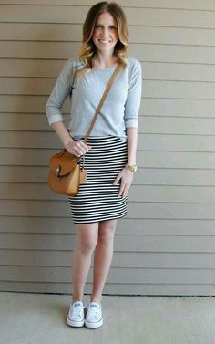 Pin by Dana Cobb on My Style- Everyday Style, Pencil skirt casual skirt outfits - Casual Outfit Pencil Skirt Outfits, Casual Skirt Outfits, Casual Fall Outfits, Modest Outfits, Cute Converse Outfits, Cute Outfits, White Converse, Skirt And Sneakers, Zeina