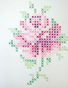 Cross stich rose mural from wunderschön-gemacht: vintage teatime. Do this with wall paint or with washi tape. Maybe not a rose (and I don't know what washi tape is, but This would be cool wall decoration. Rose Embroidery, Cross Stitch Embroidery, Embroidery Patterns, Cross Stitch Patterns, Cross Stitch Rose, Cross Stitch Flowers, Tape Wall Art, Le Point, Beading Patterns